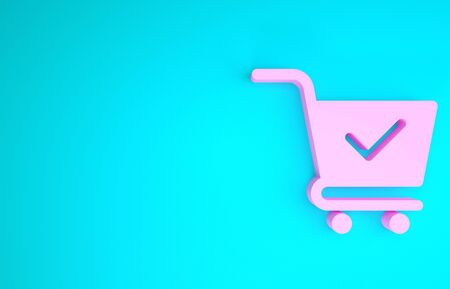 Pink Shopping cart with check mark icon isolated on blue background. Supermarket basket with approved, confirm, done, tick, completed symbol. Minimalism concept. 3d illustration 3D render
