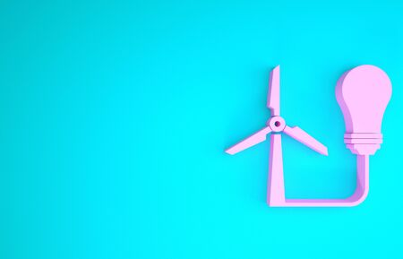 Pink Light bulb with wind turbine as idea of eco friendly source of energy icon isolated on blue background. Alternative energy concept. Minimalism concept. 3d illustration 3D render Reklamní fotografie - 133841385
