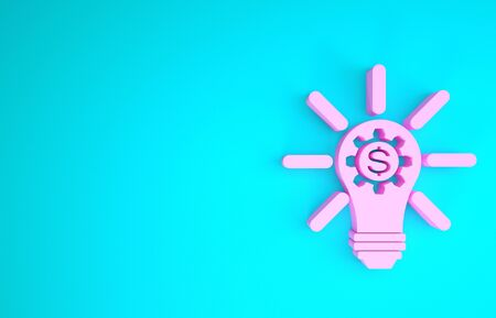 Pink Light bulb with gear inside and dollar symbol icon isolated on blue background. Fintech innovation concept. Minimalism concept. 3d illustration 3D render Фото со стока - 133841404