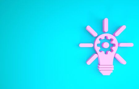 Pink Light bulb with rays shine and gear inside icon isolated on blue background. Innovation concept. Minimalism concept. 3d illustration 3D render Фото со стока