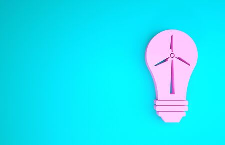 Pink Light bulb with wind turbine as idea of eco friendly source of energy icon isolated on blue background. Alternative energy concept. Minimalism concept. 3d illustration 3D render Reklamní fotografie - 133841393