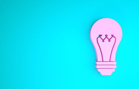 Pink Light bulb icon isolated on blue background. Energy and idea symbol. Lamp electric. Minimalism concept. 3d illustration 3D render Imagens