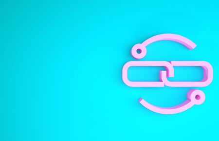 Pink Chain link line icon isolated on blue background. Link single. Minimalism concept. 3d illustration 3D render