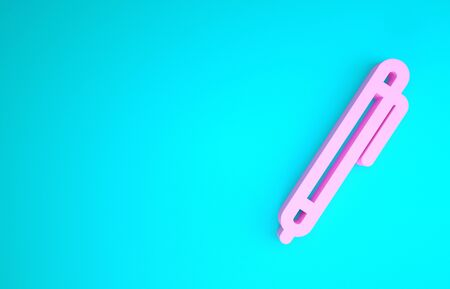 Pink Pen line icon isolated on blue background. Minimalism concept. 3d illustration 3D render