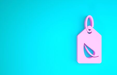 Pink Tag with leaf symbol icon isolated on blue background. Banner, label, tag,  sticker for eco green. Minimalism concept. 3d illustration 3D render Banque d'images - 133841778
