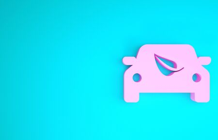 Pink Eco car concept drive with leaf icon isolated on blue background. Green energy car symbol. Minimalism concept. 3d illustration 3D render Banque d'images - 133841812