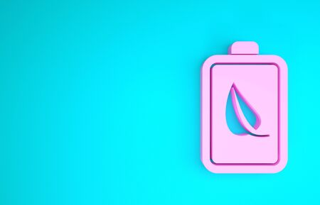 Pink Eco nature leaf and battery icon isolated on blue background. Energy based on ecology saving concept. Minimalism concept. 3d illustration 3D render Banque d'images - 133841804