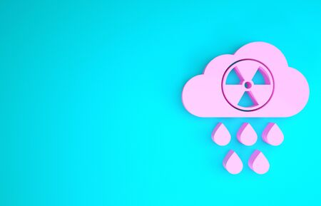 Pink Acid rain and radioactive cloud icon isolated on blue background. Effects of toxic air pollution on the environment. Minimalism concept. 3d illustration 3D render Banco de Imagens
