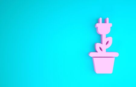 Pink Electric saving plug in pot icon isolated on blue background. Save energy electricity icon. Environmental protection icon. Bio energy. Minimalism concept. 3d illustration 3D render Banque d'images - 133841811