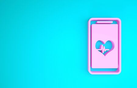 Pink Smartphone with heart rate monitor function icon isolated on blue background. Minimalism concept. 3d illustration 3D render