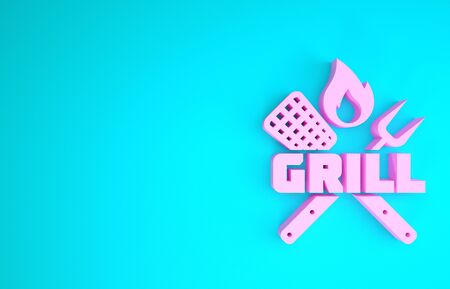 Pink Crossed fork and spatula icon isolated on blue background. Fire flame sign. BBQ fork and spatula sign. Barbecue and grill tools. Minimalism concept. 3d illustration 3D render