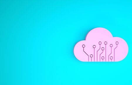Pink Internet of things icon isolated on blue background. Cloud computing design concept. Digital network connection. Minimalism concept. 3d illustration 3D render