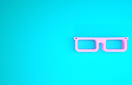 Pink Glasses icon isolated on blue background. Eyeglass frame symbol. Minimalism concept. 3d illustration 3D render