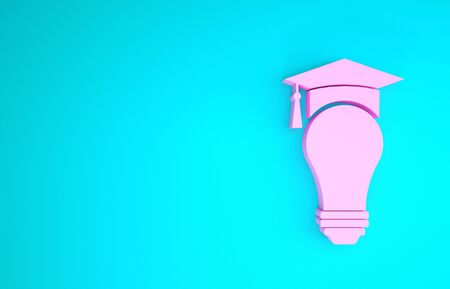 Pink Light bulb and graduation cap icon isolated on blue background. University Education concept. Minimalism concept. 3d illustration 3D render Stock fotó