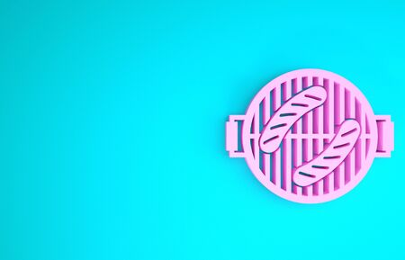 Pink Barbecue grill with sausage icon isolated on blue background. BBQ grill party. Minimalism concept. 3d illustration 3D render