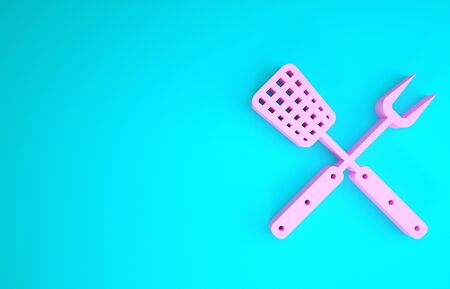 Pink Crossed fork and spatula icon isolated on blue background. BBQ fork and spatula sign. Barbecue and grill tools. Minimalism concept. 3d illustration 3D render