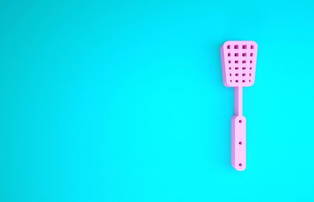 Pink Barbecue spatula icon isolated on blue background. Kitchen spatula icon. BBQ spatula sign. Barbecue and grill tool. Minimalism concept. 3d illustration 3D render