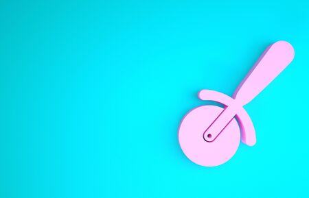Pink Pizza knife icon isolated on blue background. Pizza cutter sign. Steel kitchenware equipment. Minimalism concept. 3d illustration 3D render