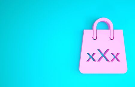 Pink Shopping bag with a triple X icon isolated on blue background. Minimalism concept. 3d illustration 3D render