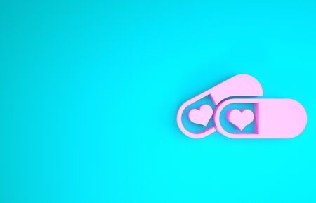 Pink Pills for potency, aphrodisiac icon isolated on blue background. Sex pills for men and women. Minimalism concept. 3d illustration 3D render