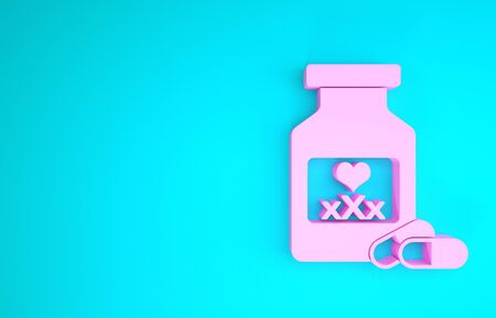 Pink Medicine bottle with pills for potency, aphrodisiac icon isolated on blue background. Sex pills for men and women. Minimalism concept. 3d illustration 3D render