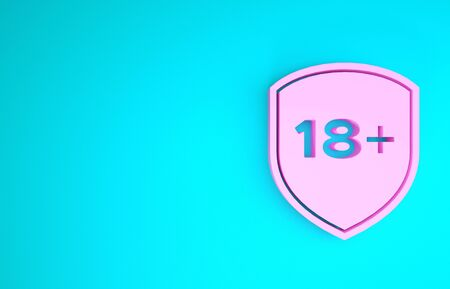 Pink Shield with inscription 18 plus icon isolated on blue background. Adults content only. Protection, safety, security, protect concept. Minimalism concept. 3d illustration 3D render Reklamní fotografie - 133901684