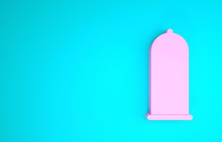 Pink Condom safe sex icon isolated on blue background. Safe love symbol. Contraceptive method for male. Minimalism concept. 3d illustration 3D render
