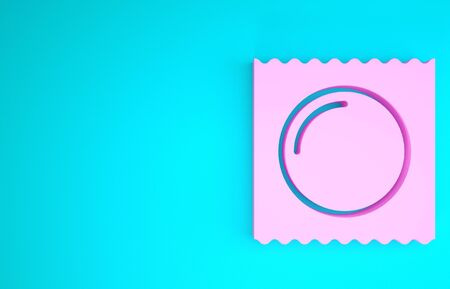 Pink Condom in package safe sex icon isolated on blue background. Safe love symbol. Contraceptive method for male. Minimalism concept. 3d illustration 3D render Zdjęcie Seryjne