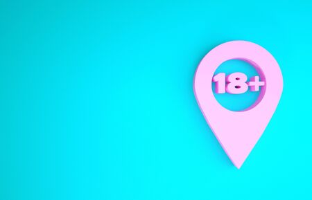 Pink Map pointer with 18 plus icon isolated on blue background. Age restriction symbol. 18 plus content sign. Adults content only icon. Minimalism concept. 3d illustration 3D render