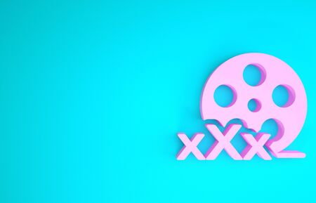 Pink Film reel with inscription XXX icon isolated on blue background. Age restriction symbol. 18 plus content sign. Adult channel. Minimalism concept. 3d illustration 3D render