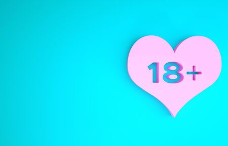 Pink 18 plus content heart icon isolated on blue background. Adults content only icon. Minimalism concept. 3d illustration 3D render