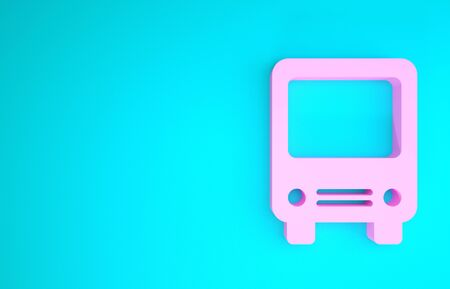 Pink Bus icon isolated on blue background. Transportation concept. Bus tour transport sign. Tourism or public vehicle symbol. Minimalism concept. 3d illustration 3D render Zdjęcie Seryjne