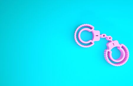 Pink Sexy fluffy handcuffs icon isolated on blue background. Handcuffs with fur. Fetish accessory.