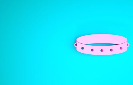Pink Leather fetish collar with metal spikes on surface icon isolated on blue background. Fetish accessory. Sex toy for men and woman. Minimalism concept. 3d illustration 3D render Stock Photo