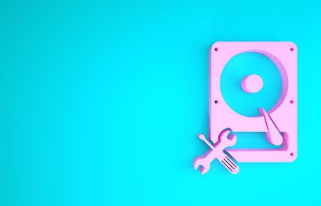 Pink Hard disk drive with screwdriver and wrench icon isolated on blue background. Adjusting, service, setting, maintenance, repair, fixing. Minimalism concept. 3d illustration 3D render