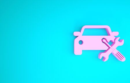 Pink Car with screwdriver and wrench icon isolated on blue background. Adjusting, service, setting, maintenance, repair, fixing. Minimalism concept. 3d illustration 3D render