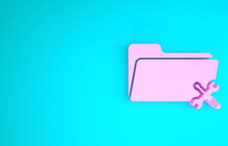 Pink Folder with screwdriver and wrench icon isolated on blue background. Adjusting, service, setting, maintenance, repair, fixing. Minimalism concept. 3d illustration 3D render