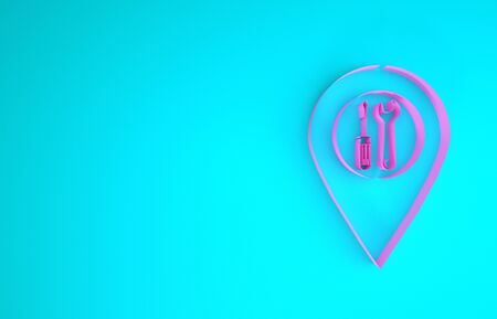 Pink Location with crossed screwdriver and wrench tools icon isolated on blue background. Pointer settings symbol. Minimalism concept. 3d illustration 3D render Banco de Imagens