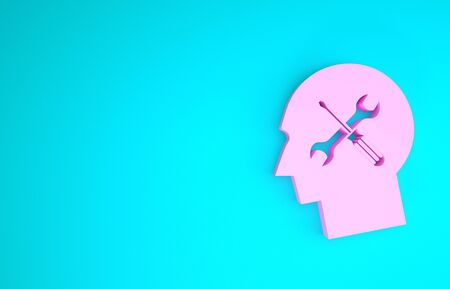 Pink Human head with with screwdriver and wrench icon isolated on blue background. Artificial intelligence. Symbol work of brain. Minimalism concept. 3d illustration 3D render
