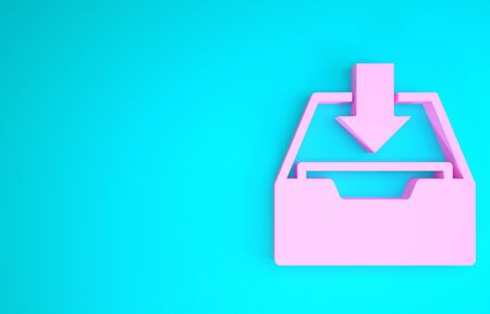Pink Download inbox icon isolated on blue background. Add to archive. Minimalism concept. 3d illustration 3D render