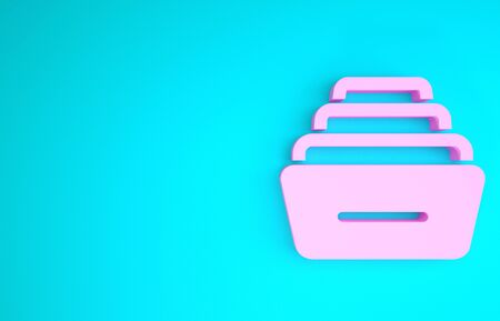 Pink Drawer with documents icon isolated on blue background. Archive papers drawer. File Cabinet Drawer. Office furniture. Minimalism concept. 3d illustration 3D render