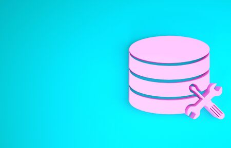 Pink Database server with screwdriver and wrench icon isolated on blue background. Adjusting, service, setting, maintenance, repair, fixing. Minimalism concept. 3d illustration 3D render Stock Photo
