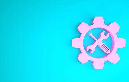 Pink Maintenance symbol - wrench and screwdriver in gear icon isolated on blue background. Service tool symbol. Minimalism concept. 3d illustration 3D render