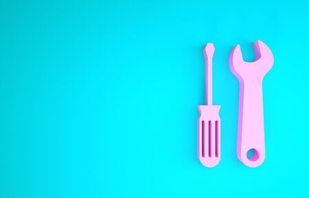 Pink Screwdriver and wrench tools icon isolated on blue background. Service tool symbol. Minimalism concept. 3d illustration 3D render Banco de Imagens