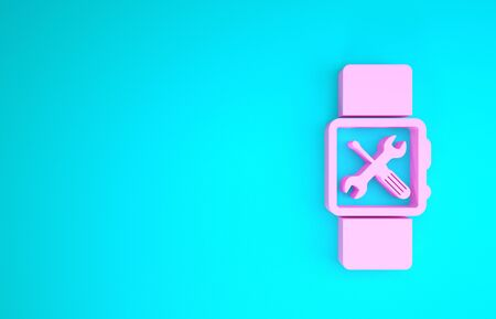 Pink Smartwatch with screwdriver and wrench icon isolated on blue background. Adjusting, service, setting, maintenance, repair, fixing. Minimalism concept. 3d illustration 3D render