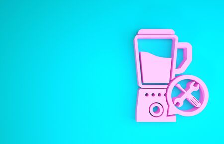 Pink Blender with screwdriver and wrench icon isolated on blue background. Adjusting, service, setting, maintenance, repair, fixing. Minimalism concept. 3d illustration 3D render