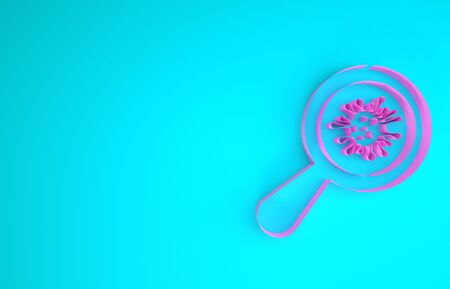 Pink Microorganisms under magnifier icon isolated on blue background. Bacteria and germs, cell cancer, microbe, virus, fungi. Minimalism concept. 3d illustration 3D render