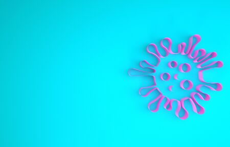Pink Bacteria icon isolated on blue background. Bacteria and germs, microorganism disease causing, cell cancer, microbe, virus, fungi. Minimalism concept. 3d illustration 3D render