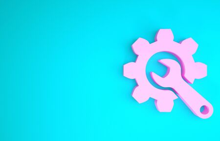 Pink Wrench and gear icon isolated on blue background. Adjusting, service, setting, maintenance, repair, fixing. Minimalism concept. 3d illustration 3D render Banco de Imagens
