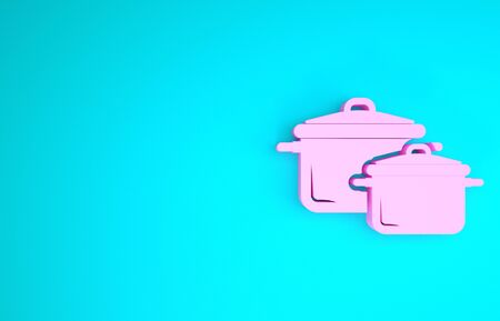 Pink Cooking pot icon isolated on blue background. Boil or stew food symbol. Minimalism concept. 3d illustration 3D render